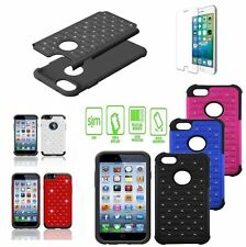Free Tempered + Bling Diamond Soft Rubber Scrub case For Apple iPhone All Models