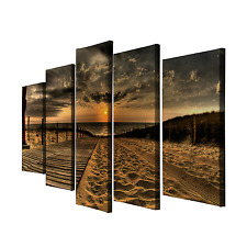 5 Panels Beautiful Sea Sunset Beach Painting Canvas Wall Art Picture Home Décor
