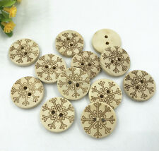 Christmas Wood color Wooden buttons snowflake pattern Sewing Scrapbooking 20mm