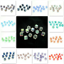 Wholesale 40pcs cube crystal glass Loose Spacer 6mm beads jewelry DIY HOT