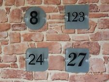 House Sign plaque, Number only Glass effect perspex & Brushed aluminium