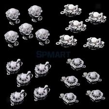 5Pcs Crystal Pearl Jewelry Push Clasps Connector for DIY Bracelet Necklace Hook