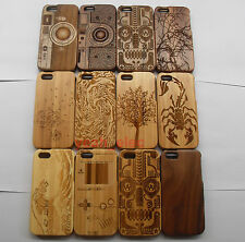 For iPhone 5 5S 5G Fashion Carved Design Genuine Wood Wooden Bamboo Case Cover!