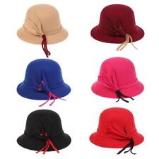 Womens Dressy Hat Woolen Cloche Bowler Bucket Hat Wide Brim Leaves Decor