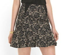 NWT $245 Nicole Miller Artelier Floral Lace Print A Line Skirt Sz 4 6 8 Oyster