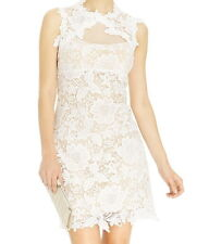NWT $209 Betsy & Adam Sleeveless Illusion Crochet Lace Sheath Dress White Size 4