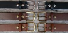 Mens Leather Jeans Belt, 1.75 inch wide, Solid 55g brass buckle, Australian made