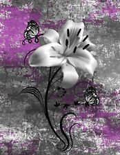 Purple Gray Modern Flower Bathroom Bedroom Wall Art Home Decor Matted Picture