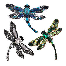 Vintage Big Crystal Dragonfly Brooch Pin Insect Lapel Pin Pendant For Women