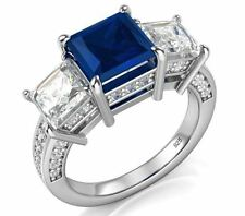 Princess Cut Blue & White 925 Sterling Silver Cubic Zirconia CZ Engagement Ring