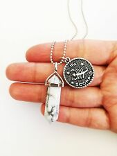 White Turquoise Point Necklace Zodiac Horoscope Pendant Charm Star Sign Boho NEW