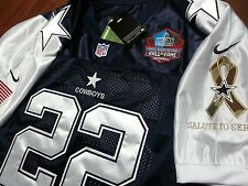 Brand New! Cowboys #22 Emmitt Smith Throwback Blue/white Dual Patch SEWN Jersey