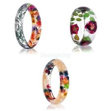 Charm Handmade Lucite Dried Flowers Incased Resin Women Bracelet Cuff Bangle