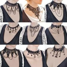 Vintage Black Lace Choker Victorian Gothic Collar Necklace Chain Tassel Pendant
