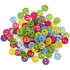 100Pcs Mixed Color Resin Simple 2 Holes Round Buttons for Scrapbooking Sewing