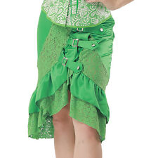 Green Satin Lace Ruffles Buckle Skirt Vintage Burlesque Gothic Steampunk Skirts