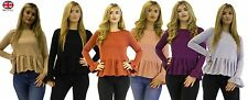 **Womens Ladies Frilled Long-sleeve top available in 6 coulors**