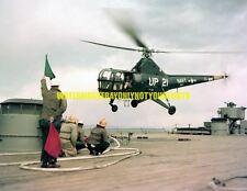 USN Sikorsky HO3S-1 Helicopter Color Photo Military BB-62 Pacific Fleet Angles