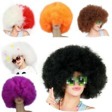 Retro70s Disco Circus Afro Clown Hair Wig Hippy Fancy Dress Up Costume Curly Wig