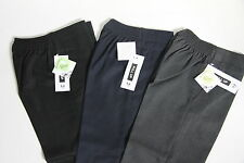 BOYS KIDS PULL UP  SCHOOL TROUSERS AGES 1-8 YEARS IN BLACK/NAVY/GREY AVAILABLE