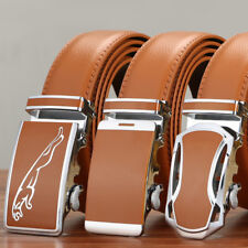 Luxury Mens Genuine Leather Belt Alloy Automatic Buckle Waistband Casual Orange