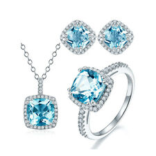 Classic Blue Topaz Halo Jewelry Sets 925 Sterling Silver Pendant Ring Earrings