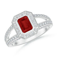 Split Shank Emerald-Cut Ruby Halo Ring With Diamond 14K Y/ White Gold Size 3-13