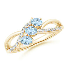 Oval Aquamarine Three Stone Bypass Ring with Diamonds 14k Yellow Gold/Silver