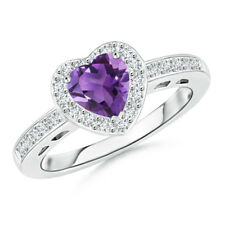 Heart Shaped Amethyst Halo Ring with Diamond 14k White Gold/ Platinum Size 3-13