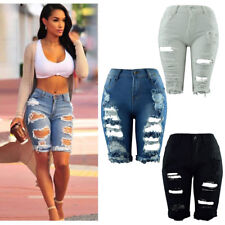 UK Women Ladies Ripped Vintage High Waist Stretch Denim Jeans Shorts Hotpants