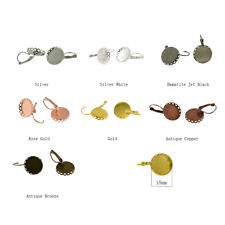 12Pcs/Lot Blank Earring Hook 18mm Round Cabochon Tray Base Round DIY Jewelry