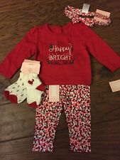 NWT Gymboree baby girl holly holiday outfit 5-piece SET Bow Socks 6 9 12 Month