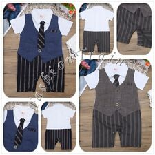 Gentleman Infant Baby Boys Romper Jumpsuit Birthday Striped Romper Outfit Set