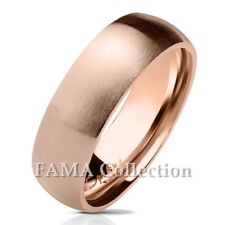 FAMA Stainless Steel Rose Gold IP Matte Finish Classic Dome Wedding Band Ring