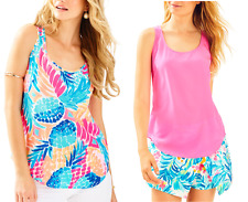NWT Lilly Pulitzer ALYSSA SILK TOP Pink Fusion/Multi Goombay Smashed Size S