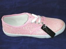 NEW Girls / Ladies Sparkle Pink Trainers Shoes Pumps from Platino Size 4-5-6-8