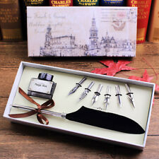 Black Vintage Quill Feather Dip Pen Writing Ink Set Stationery Best Gift Box