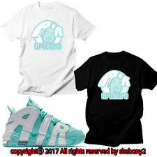 NEW CUSTOM TEE Nike Air More Uptempo matching T SHIRT UTP 1-9-8 ISLAND GREEN
