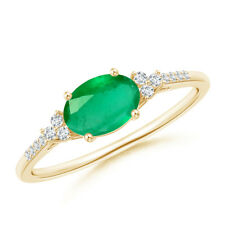 Oval Natural Emerald Solitaire Ring with Trio Diamond 14k Yellow Gold Size 3-13