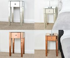 Mirrored Glass 1 Drawer Bedside table Set - 2 x 1 drawer