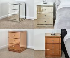 Mirrored Glass 3 Drawer Bedside table Set - 2 x 3 drawer Set