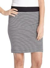 Karen Kane White/Black Striped Stretch Knit Pencil Skirt - MSRP $68