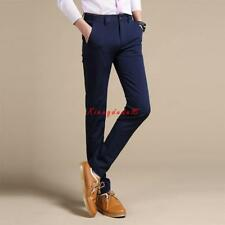 New Mens Cotton Blend Slim Fit Straight   Slim Dress Pants Casual Trousers