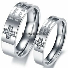 Silver Stainless Steel Cross Mens Womens Couples Engagement Wedding Band Ring