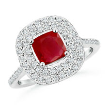 Natural Cushion Ruby Diamond Accents Engagement Ring in 14k White Gold/ Platinum
