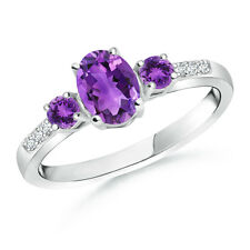 Oval Amethyst Three Stone Ring with Diamond Accents 14k White Gold/ Platinum