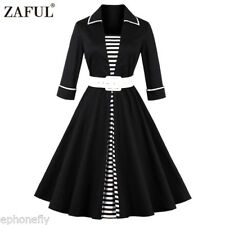Plus Size 50s 60s Vintage Style 3/4 Sleeve Rockabilly Evening Party Swing Dress