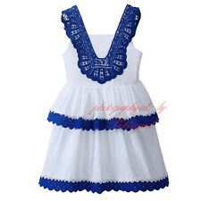 Girls Party Dress Blue Lace Crochet Layered Sundress Wedding Christening Holiday