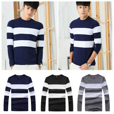 Mens Slim T-Shirt Stripe Casual T Shirts O Neck T Men's Shirts 1Pcs Long Sleeve
