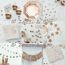 GINGER RAY ROSE GOLD CHRISTMAS PARTY DECORATION PLATES NAPKINS CONFETTI BUNTING